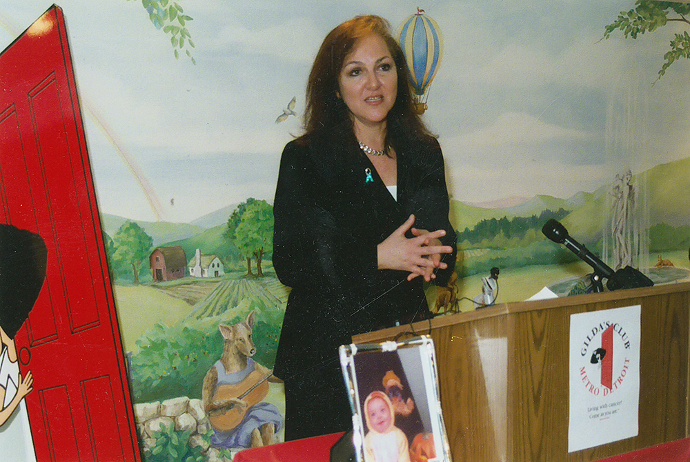 Sheryl at a press conference for Johanna's Law, held at Gilda's Club.