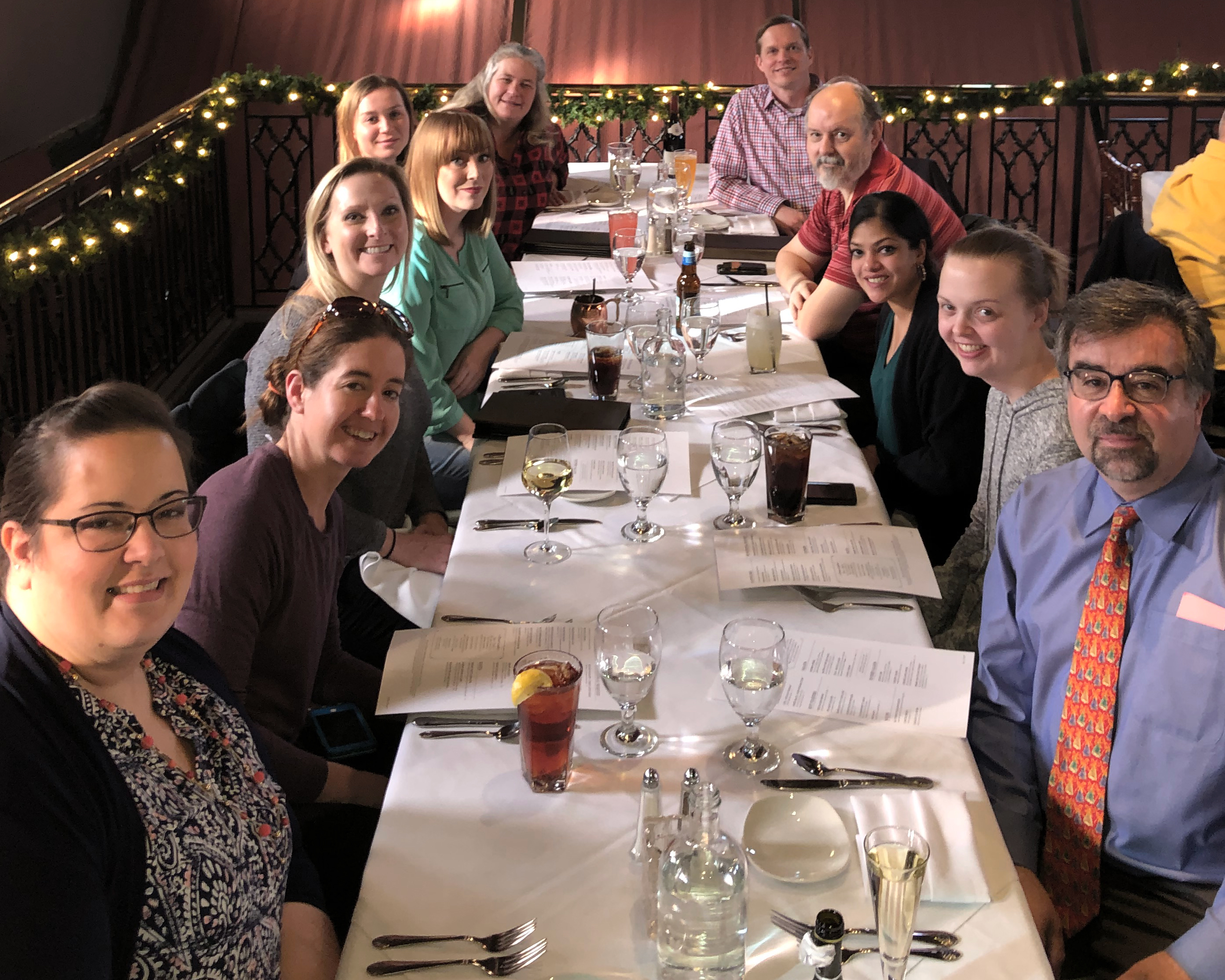 The team from the Research Histology Lab enjoys time together off-campus.